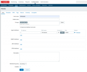 Konfiguration des Hosts in Zabbix